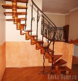 Кованая лестница с витыми перилами, кованые ограждения