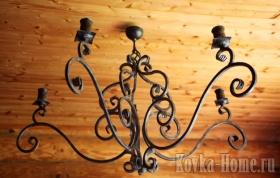 Кованая люстра пятирожковая, кованые светильники, кованые фонари