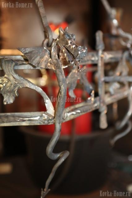 Люстра кованая Тоскана 3, кованые фонари, кованые светильники