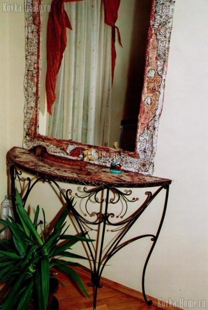 Кованый столик с керамикой фото, кованые столии, кованый журнальный столик
