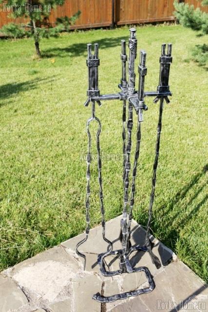 Кованый каминный набор, каминный набор, кованые каминные наборы,  аксессуары для каминов